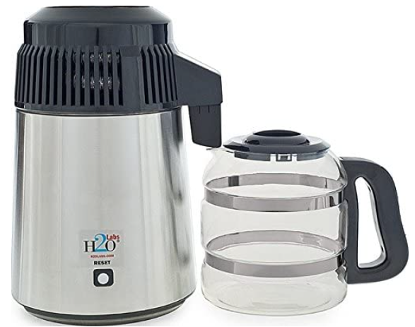 Stainless steel water distiller with glass carafe